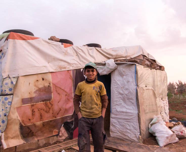 Một bé trai người Syria tại trại tị nạn