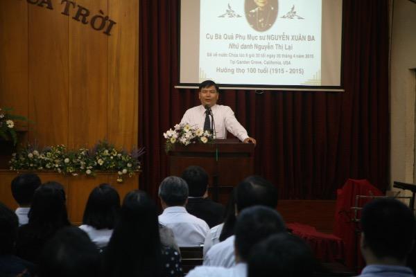 Mục sư Bùi Văn Chí tưởng nhớ Bà Quả Phụ Mục Sư Nguyễn Xuân Ba.