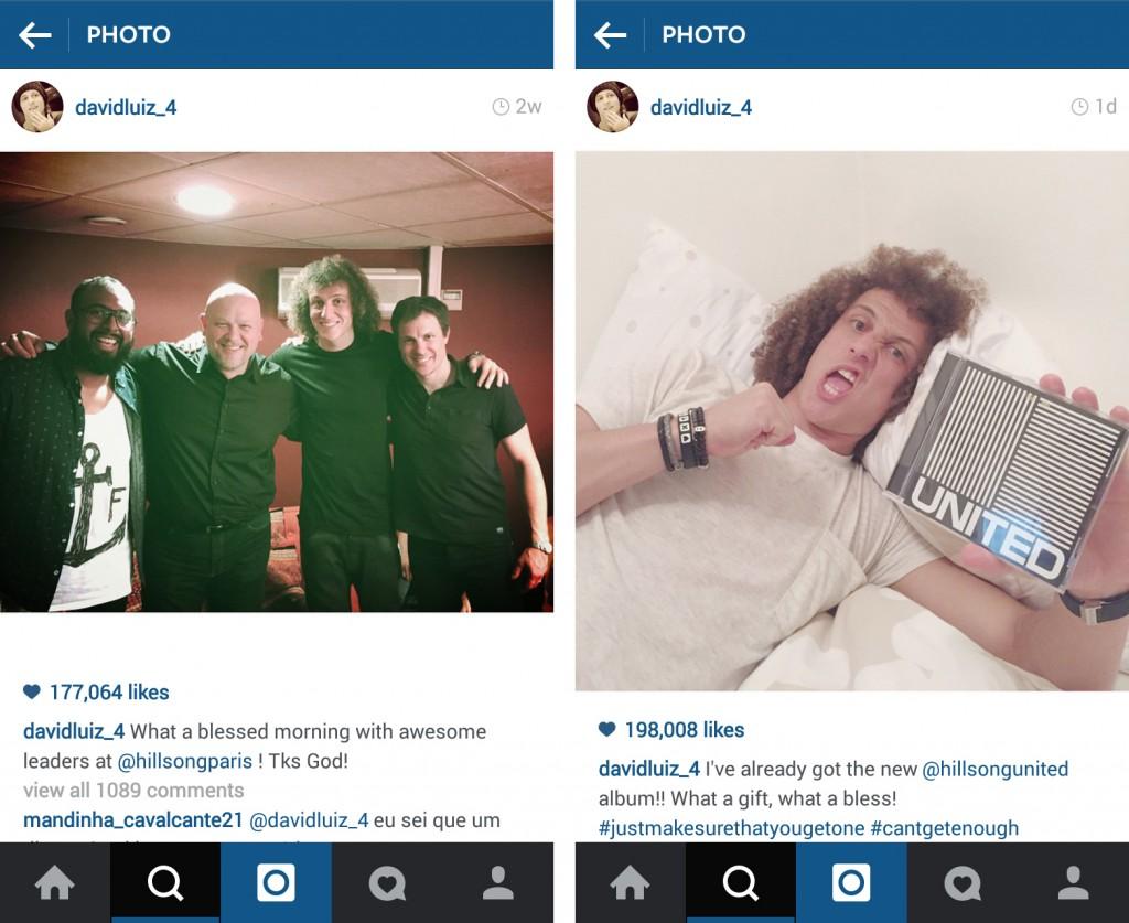 Hình ảnh được David Luiz chia sẻ khi đứng cạnh các thành viên Hillsong Church tại Paris cùng với một post khác khi anh cầm trên tay album thờ phượng mới nhất của nhóm nhạc Hillsong.