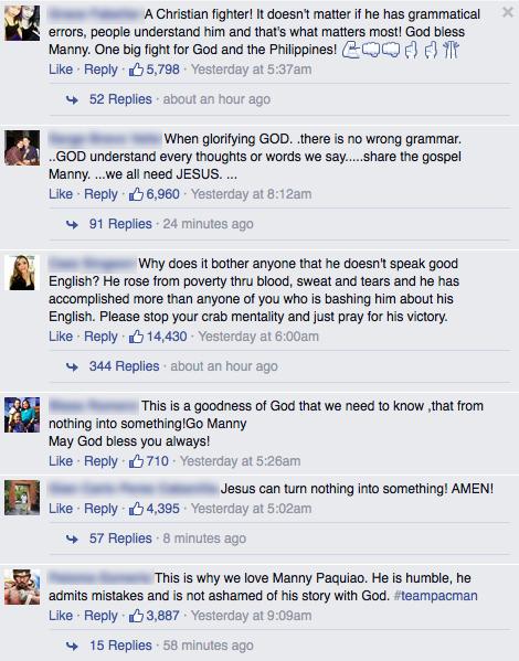 Việc Manny Pacquiao không ngượng ngùng về đức tin của mình được cộng đồng mạng ngưỡng mộ.