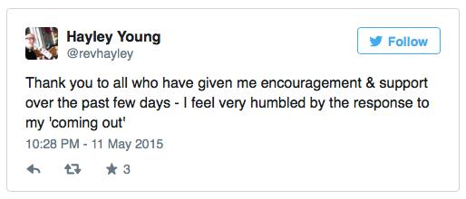 Lời cảm ơn của Hayley Young trước sự ủng hộ của mọi người.
