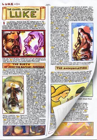 Một trang sách trong cuốn Kinh Thánh do chính tay Dino Mazzoli viết tay và vẽ minh hoạ.