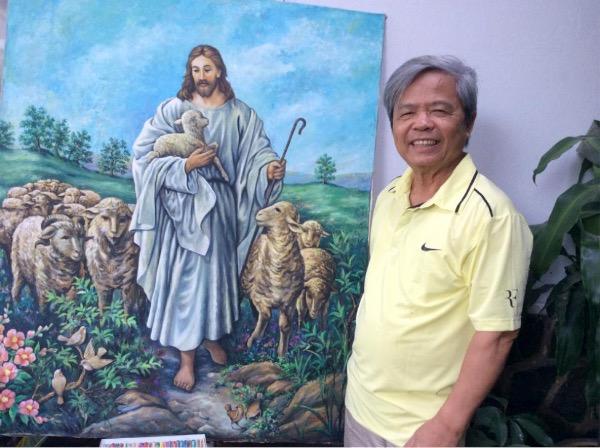 """Người họa sĩ tài hoa bút hiệu """"Sơn Hưng"""" với bức tranh """"Chúa jesu chăn chiên"""""""