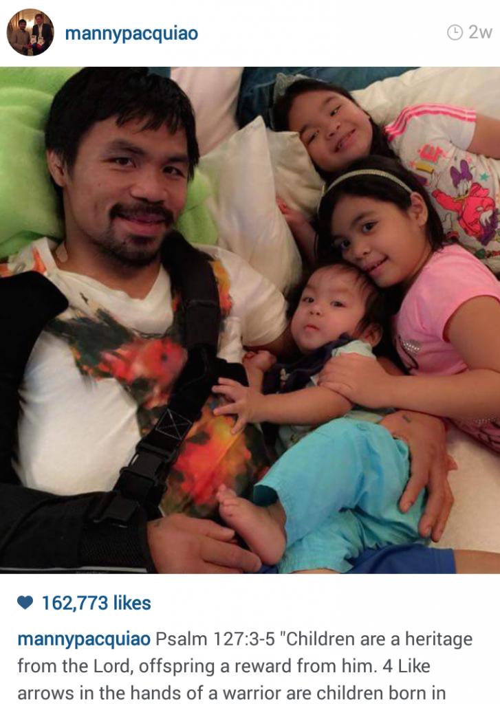 """Manny Pacquiao dành nhiều thời gian cho gia đình sau trận so găng """"thế kỷ""""."""