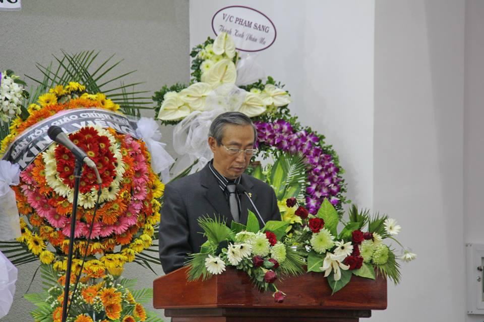 Mục sư Dương Quang Hoà, Trưởng Ban Đại Diện, con trai Cụ MSTS Dương Thạnh, gửi lời tri ân.