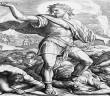 Schnorr-Bibel, Simson schlägt Philister - Samson kills 1000 Philistines/Carolsfeld -