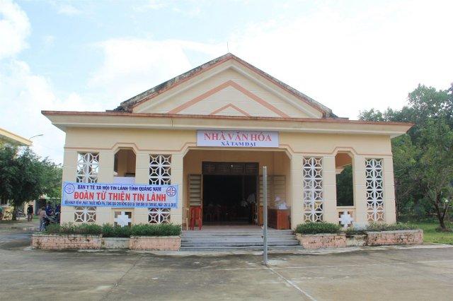 Hội trường Nhà Văn hóa xã Tam Đại, nơi đoàn làm việc vào buổi chiều.