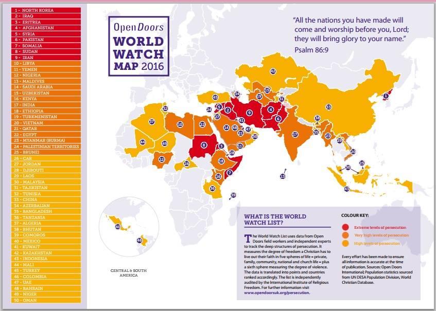 Đánh giá mức độ bắt bớ theo bản đồ khu vực.