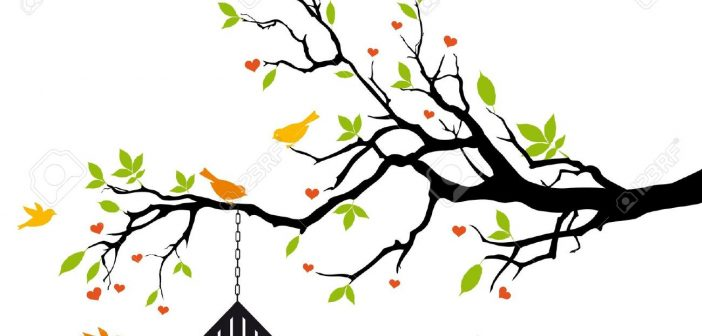 12495395-bird-house-on-spring-tree-with-green-leaves-vector-background-Stock-Photo