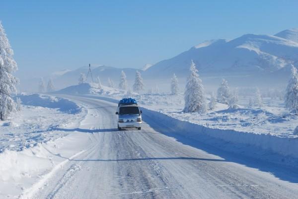 Một con đường tại thành phố Yakutsk.