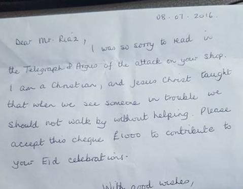 Lá thứ Jane gửi cho gia đình ông Riaz.