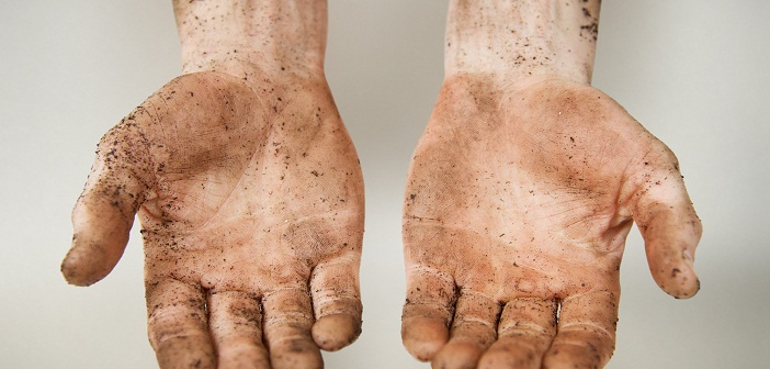Muddy workmans hands