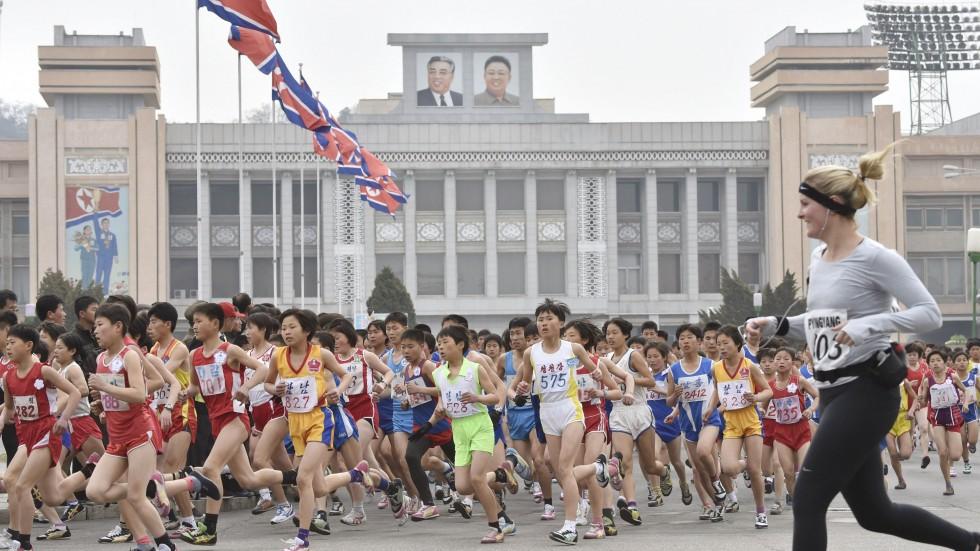 Một cuộc thi chạy vào năm 2015 tại Bình Nhưỡng với sự góp mặt của nhiều vận động viên nước ngoài.