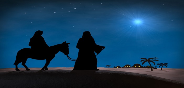 Bethlehem Christmas. Star in night sky above Mary and Joseph