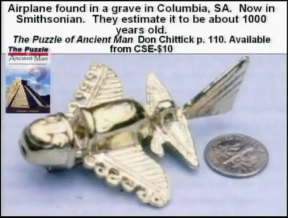 Mô hình máy bay 1.000 tuổi đượ c tìm thấy tại Columbia, SA.